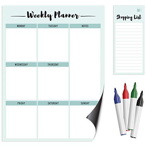 Planificador semanal magnético A3 para refrigerador, con lista de compras