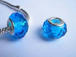 """Perle """" Bleu Turquoise À Facettes """" Breloque Charms Style Pandora 925"""