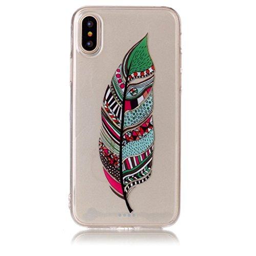 Per iPhone X Cover , YIGA Piume colorate Cristallo Trasparente Silicone Morbido TPU Case Shell Caso Protezione Custodia per Apple iPhone X (5,8 pollici) XS70