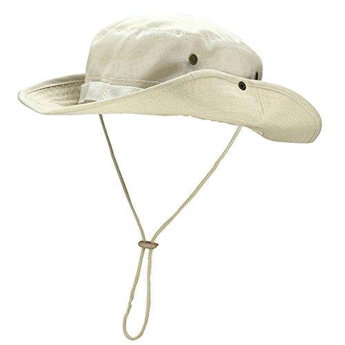 Faleto Faleto Outdoor Hut Buschhut Boonie Hat mit Kinnband Fischermütze Sonnenhut Sommerhut für Herren Damen, Beige, passt für Kopfumfang 60cm
