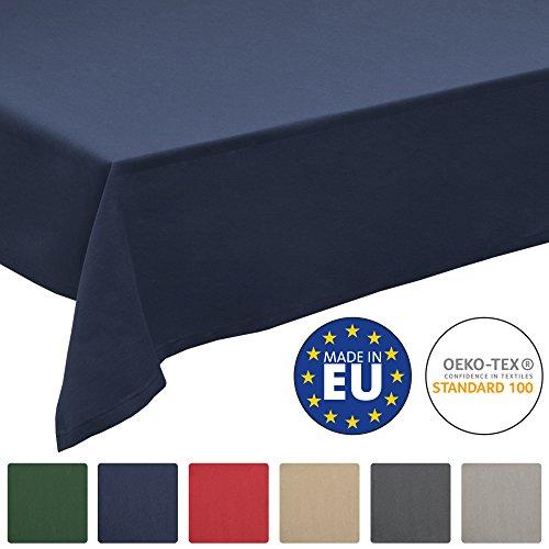 Beautissu Tischdecke Loftflair - Rechteckig 140x180 cm Blau - Stoff Tischtuch aus Baumwolle - Waschbar & Pflegeleicht
