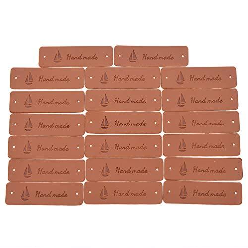 Hongma 20er Handmade Segeln Leather Labels Tags Kleideretiketten Rechteck PU Nähen DIY Dekor