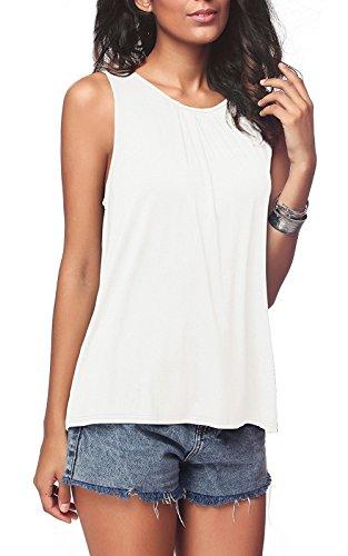LANOMI Ärmelloses Top Bluse Damen Oberteile Shirt Ärmellos Sommer Große Größe 36 38 40 42 44 46 48 50 (Weiß, Etikett S/DE 36)