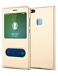 Funda Huawei P8 Lite (2017) / honor 8 lite/ Nova Lite Qissy® inteligente Fecha / Hora Ver Espejo Brillante tirón del caso Con del sueño / Despierte Función para Huawei P8 Lite 2017 teléfono
