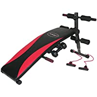 HMS l8355Inclined Bench with Dumbbells and Ropes, Black de Red, One Size