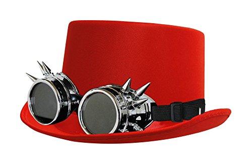 Kostüm Vergangenheit - ILOVEFANCYDRESS Steampunk DAMPFROCKER SEIDIGE Zylinder HÜTE+VERSCHIEDENEN Retro UHRMACHER Look Brillen=ZUBEHÖR Unisex=Technik ODER CLOCKWORKER VERGANGENHEITS = ROTER Hut+ Silberne Brille