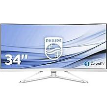 """Philips Monitores 349X7FJEW/00 - Monitor de 34"""" (resolución 3440 x 1440 Pixels, tecnología WLED, Contraste 3000:1, 4 ms, HDMI), Color Blanco"""