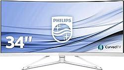 Philips 349X7FJEW/00 86 cm (34 Zoll) Monitor (2 x HDMI, USB-Hub 3.0, 4ms Reaktionszeit, 3440 x 1440, Displayport, curved) weiß