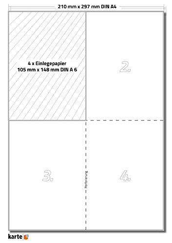 200 x Karteo® Einsteckkarten | Einsteckschild | Einleger 160g/m² | weiß hochwertiges perforiertes Papier 148 x 105 mm (DIN A6) auf 50 Stk. DIN A4 Bögen zum Selbstbedrucken beidseitig