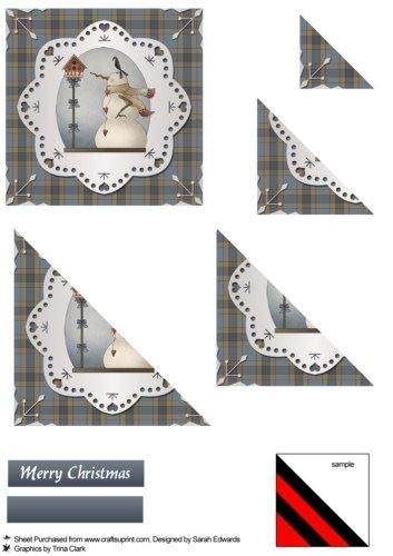Folk Art Snowman triangolo Stacker by Sarah Edwards