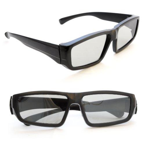 2er SET 3D-Brille für PASSIVE 3D TVs (NICHT FÜR AKTIVE GERÄTE GEEIGNET), PC-Spiele oder Kino RealD, Passivbrille (zirkular polarisiert) Farbe: schwarz - Marke Ganzoo