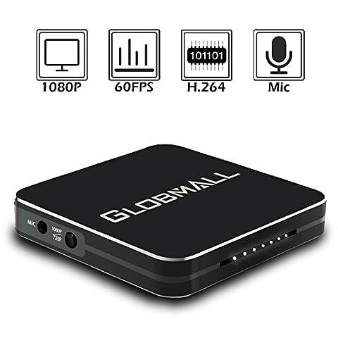 Globmall Game Capture HD, Boîtier d'acquisition Video Haute Définition 1080P, Dispositif Enregistreur de Jeu avec Entrée/Sortie HDMI Pour PS3, PS4, Xbox One, Xbox 360 et Tv Box, Soutien Entrée Microphone