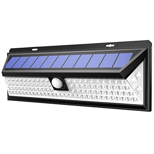 AMIR 102 LED Solarleuchten Außen Garten, LED Solarlampe mit Bewegungsmelder, Solar Wandleuchte, IP65 wasserdichte Solarlicht mit 3 Modi, Solar Beleuchtung für Garten, Wand, Fahrbahn, Gehwegen usw