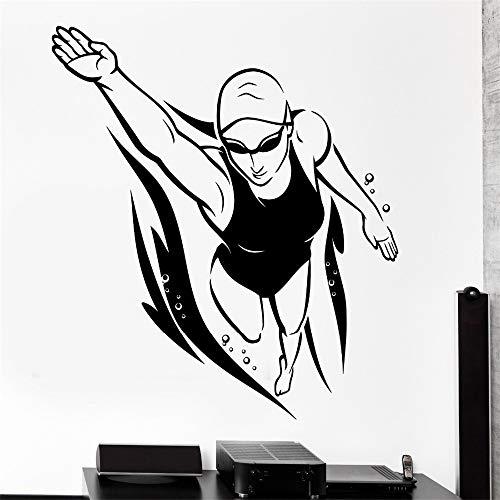 zlhcich Wandaufkleber Sport Schwimmer Freestyle Weiblich Frau Schwimmer Vinyl Aufkleber57 * 62 cm