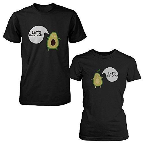 365 Printing Let's Avocuddle - Juego de Camisetas para Parejas, diseño de Aguacate, Color Negro - Negro - Hombres - XXX-Large/Mujeres - XX-Large