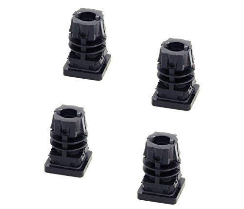 GedoTec Fußkappen Möbelgleiter mit Innen-Gewinde M10 schwarz aus Kunststoff für Vierkantrohr | Formrohr-Stopfen quadratisch | Lamellenstopfen 25 x 25 mm | Markenqualität für Ihren Wohnbereich