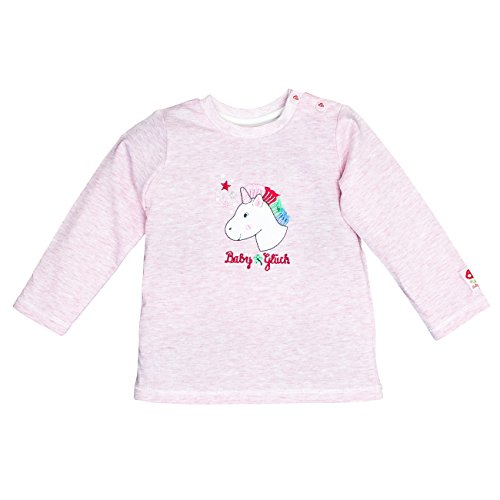SALT AND PEPPER Baby-Mädchen BG Longsleeve Uni Einhorn OCS Langarmshirt, Pink (Sweet Rose Melange 805), 68 -