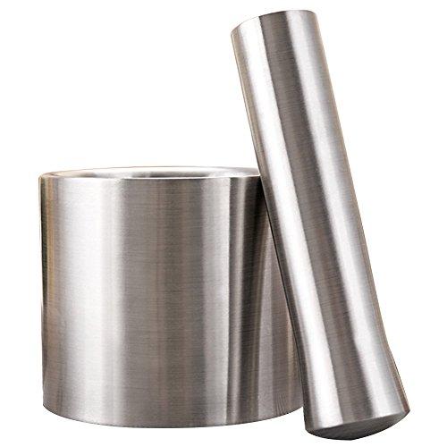 Knoblauchpresse,Doppel-Edelstahl-Metallmörtel-Salz-und Stampfe-Sockel-Schüssel-Knoblauch-Presse-Topf-Kraut mahlt Pfeffer-Gewürz-Schleifer Pugging-Topf