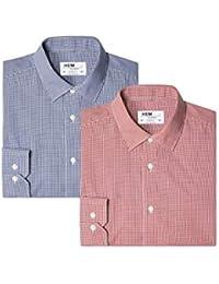 Hem & Seam Men's Formal Plaid Slim Fit Shirt (Pack of 2)