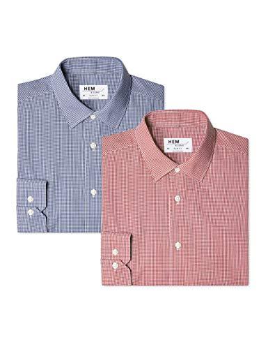 Hem & Seam Herren Formales kariertes Slim Fit-Hemd, 2er Pack, Mehrfarbig (Gingham Navy / Gingham Red), 54 (Herstellergröße: 16.5) (Slim Fit Hemd Gingham)