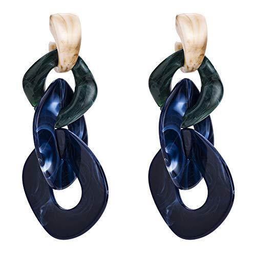 (Nikgic Herbst Ohrringe mehrschichtige Kette gewebt Ohrringe-Blau)