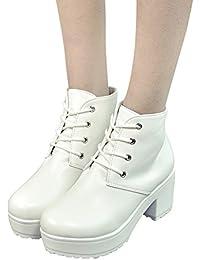 Stiefel Damen Boots Mode Ankle Schuhe High Heels Stiefel Oxford Leder  Freizeitschuhe Stiefeletten Kurze Winterstiefel ABsoar f284f1f870