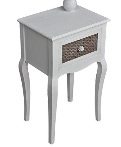 elbmöbel Nachttisch beige Rose Tisch Beistelltisch weiß Landhaus Holztisch Holz shabby