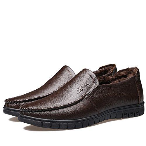 Chaussures De Cuir En Cuir Pour Hommes Robe D'affaires Robe De Mariée D'hiver Sur Brown-brown Brun-noir