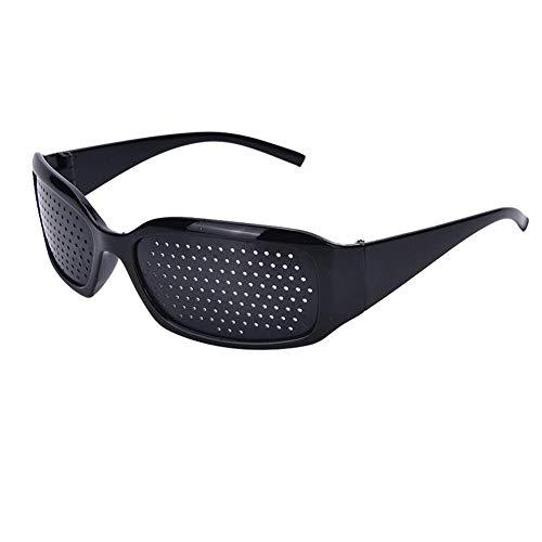 Suneast Rasterbrille Pinhole Glasses Schwarz Lochbrille Gitterbrille mit Faltbaren Bügeln für Augentraining zur Entspannung - Form 2