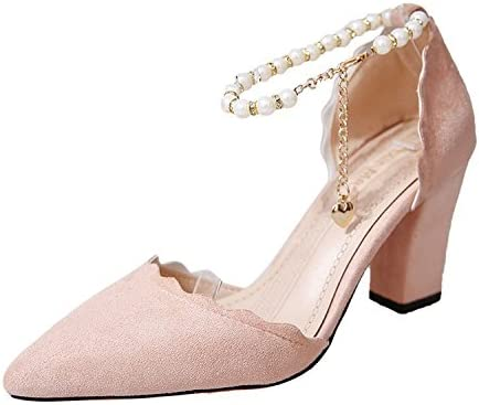 En Verano, Baotou-Girl Tiene una Cabeza Puntiaguda, Zapatos Pequeños y ásperos con Tacones Altos. Rosa, Treinta...