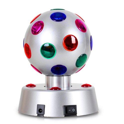 oneConcept Disco-Ball-4-S • Discokugel • LED-Leuchtkugel • Lichteffekt • 13,5 cm Durchmesser • motorisierte Drehbewegung • 5 LEDs • 23 Farblinsen • abwechslungsreiche Effekteinlagen • geringe Wärmeentwicklung • langlebige Konstruktion • silber