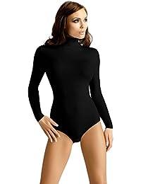 Vestiva Damen Body Langarm Rollkragen Body Baumwolle Bodysuit Tanz Bodys BD23