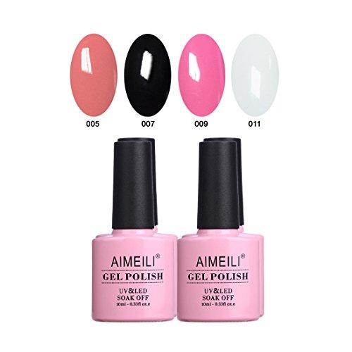 AIMEILI Soak Off UV LED Noir Blanc Vernis à Ongles Gel Semi-Permanent Lot Color Mix/Multi-Colored Kit Set Ensemble de Couleurs 4 X 10ml - Set 1