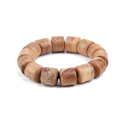 Awertaweyt Edelstein Perlen Armband 18 12 10Mm Cylindrical Natural WoodABCDEFBeads Bracelet for Women Men Wooden Bangles Jewelry 18mm