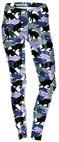 Belsen Damen Elastic Leggings Bleistift Pants (S, Black cat)