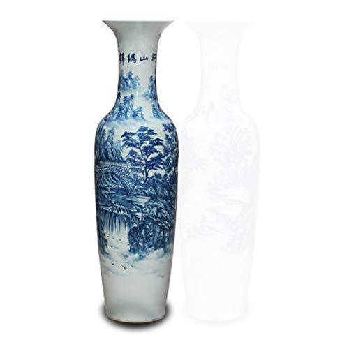 GSDQ Jingdezhen Keramik handbemalt blau und weiß Rost Berg Fluss Landung große Vase Büro Ballsaal Wohnzimmer Hotel Dekoration Dekoration Dekoration Flasche Sammlung Geschenk