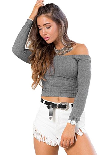 Minetom Femmes Chic Top Manches Longues Épaules Nues Col Bateau Pull Sweater Knitting Chemise Haut Blouse Top Gris