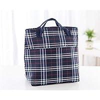 Preisvergleich für Yudanwin Leinwand-Lunch-Tasche Gestreifte Isolierung Tragbare Plaid Oxford Tuch Lunch Bag (dunkelblau)