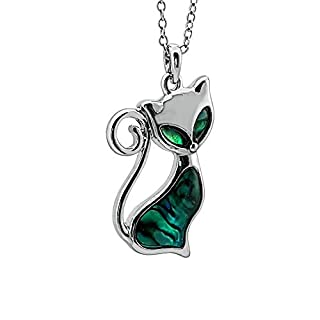 Kiara Jewellery Aristo Cat Pendant Necklace Inlaid With Bluish Green Paua Abalone Shell on 18