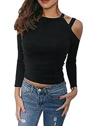 Camiseta para mujer Feixiang de manga larga y cuello redondo, de color sólido con botones