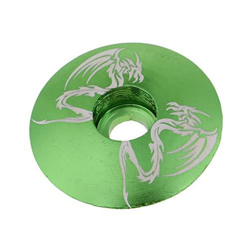 B Baosity Aluminiumlegierung Fahrrad Threadless Stem Headset Top Cap Cover - Grüner Drache -