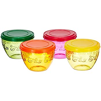 Amazon Brand - Solimo Wonder Bowl with Snapfit Lid, 220 ml, Set of 4, Multicolour