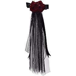 BLESSUME Gótico Mujer Steampunk Alas de engranaje Reloj Mariposa Sombrero Cordón Cabello Acortar Headwear (1)