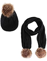 Originaltree Winter Outdoor Baby Boy Girl Cute Pompon Berretto a Maglia  Beanie Caldo Sciarpa Set Nero 3d26cd8709b8