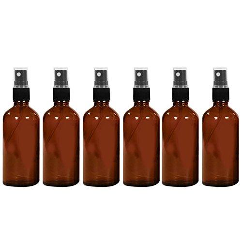 6 PCS 1.66oz/50ml Voyage portable verre bouteille vide réutilisable Fine brume Spray bouteille récipient voyage parfum huiles essentielles contenants pulvérisateur Brown