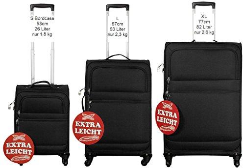Federleichtes Nylon-Kofferset 3 tlg. Koffer Trolley Reisekoffer schwarz