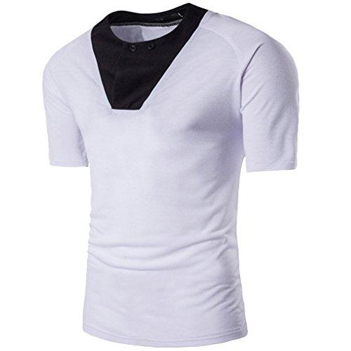 TUDUZ Oversize Herren Sommer Slim-Fit Rundhals-Ausschnitt Basic T-Shirt Knopf Muskel Pullover (Lustige Selbstgemachte Halloween Kostüme)