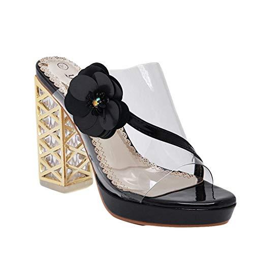 BASACASandalenDamenFrauenSommerCrystal Casual Thick Heel Slippers High Heels SchuheFrauMode2019 (38 EU, Schwarz) Crystal High Heel