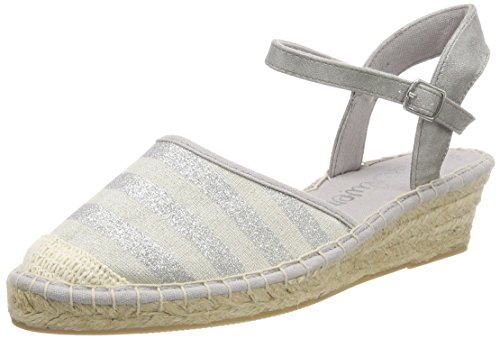 s.Oliver Damen 28351 Riemchensandalen, Silber (Silver Stripes), 40 EU (Stripe Wedge Sandals)