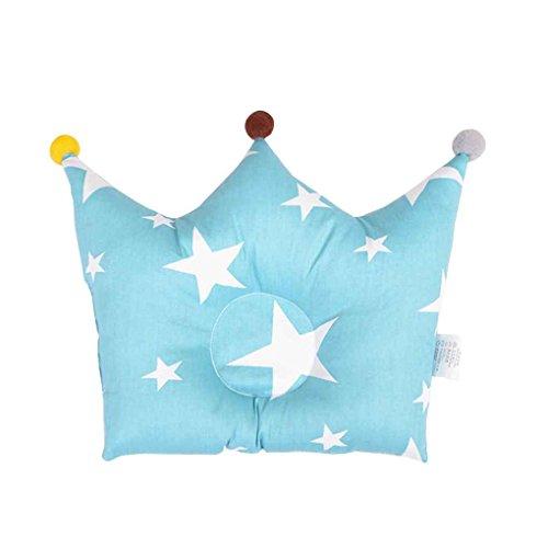 Babysbreath17 Nette Kronen-Form-Forming Kissen Baumwolle Kissen Prevent Flat Head Baby-Kind Neugeborenes Kleinkind-Kopfträger Blau - Flat Head Baby-kissen